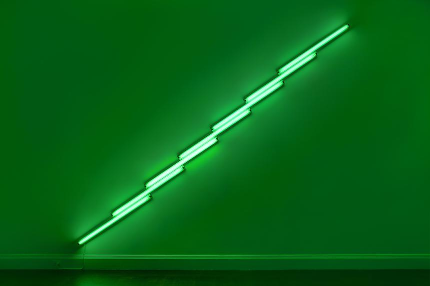 <b>DAN FLAVIN</b> <i>untitled</i>, 1975 green fluorescent light 16 feet (488 cm) long on the diagonal