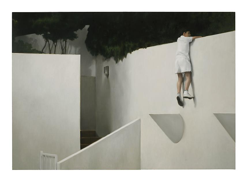 <i>Boy on Wall</i>, 2012<br> Oil on linen<br> 111 x 158 inches (282 x 400 cm)<br>  Photo credit: Fredrik Nilsen