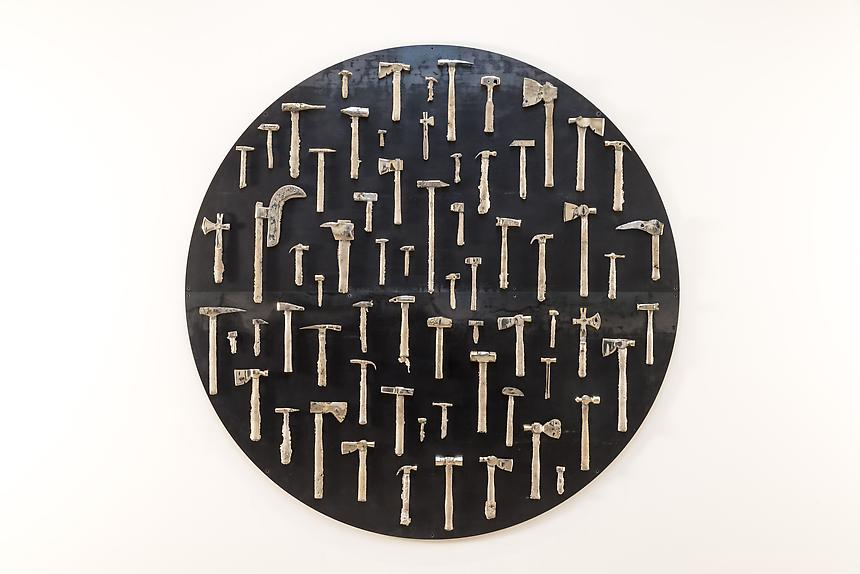 <i>Not Yet Titled</i>, 2013<br> Steel, white bronze<br> 94 inches in diameter<br> <br> Photo: Joshua White / JW Pictures