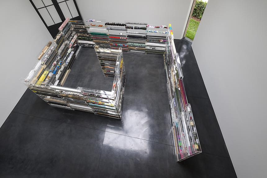 <i>Course of Empire</i>, 2013<br> 165 plexiglass boxes filled with mixed materials<br> Approximately 75 1/2 x 235 x 224 inches<br> <br> Photo: Joshua White / JW Pictures