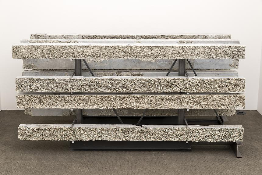 <i>Stone Rack</i>, 2013<br> Cat litter, steel, urethane<br> 68 1/2 x 35 x 16 inches<br> <br> Photo: Joshua White / JW Pictures