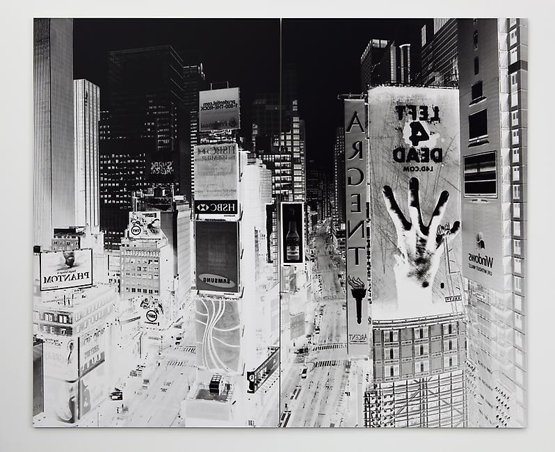 <i>Times Square New York 5 October 2008</i>, 2008  Unique camera obscura silver gelatin print  92.7 x 111.6 inches (236 x 284 cm) (Diptych)