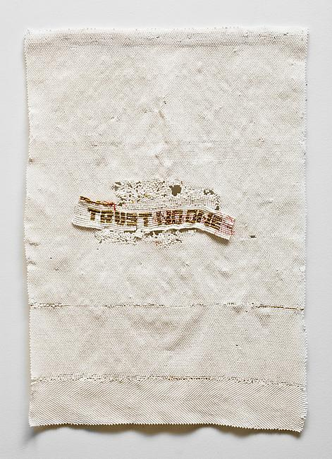 <i>Trust no one</i>, 2010-2011 glass beads, cotton 25 x 17 1/2 inches
