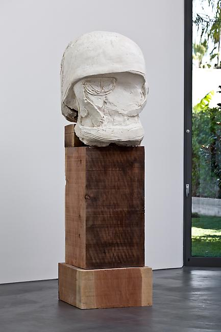 <i>Lamp/Head</i>, 2010 Tuf-Cal, hemp, iron rebar, redwood Head: 38 x 30 x 23 inches Base: 50 x 24 x 24 inches