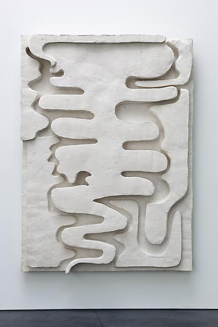 <i>Smoke/Sign I</i>, 2011 Tuf-Cal, hemp, iron rebar 68 x 50 x 6 1/2 inches