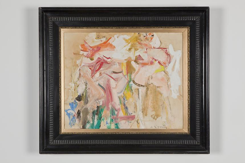 <b>Willem de Kooning</b> <i>Two Women (Study for Clamdiggers)</i>, 1961-62 oil on paper laid down on masonite 23 x 28 1/2 inches