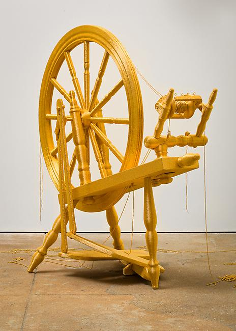 <i>Spin</i>, 2010-2011 spinning wheel, 24 karat gold-plated glass beads, stainless steel 39 x 18 9/16 x 43 inches