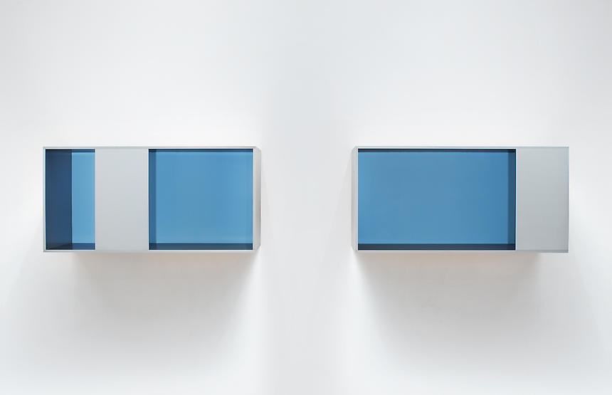<i>Untitled (88-28 A/B Menziken)</i> 1988 brushed aluminum with blue plexiglas 2 units, each Unit: 19 5/8 x 39 3/8 x 19 5/8 inches