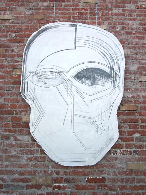 <i>Black Mask I</i>, 2011 Tuf-Cal, hemp, iron rebar, charcoal, graphite 29 x 5 x 35 inches