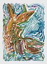 Josh Smith <i>Diving Fish III</i>, 2010 Monotype on 300 gsm BFK Rives White paper 30 x 22 inches JS72