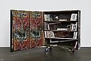 Josh Smith <i>Bookshelf/Sculpture</i>, 2010 Wooden bookshelf with 84 mixed media books 55 x 49 ½ x 16 inches