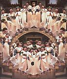 Yasumasa Morimura Angels Descending Staircase, 1991 Color photograph mounted on canvas Edition of 3 102 1/2 x 89 inches  (260.4 x 226.1 cm)