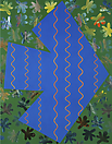 Philip Taaffe <i>Blue/Green</i>, 1987 Silkscreen collage on canvas 86-1/2 x 68 inches (220 x 173 cm)