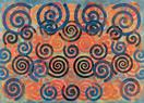 Philip Taaffe <i>Spiral Painting II</i>, 2015 Mixed media on canvas 135 1/2 x 187 1/4 inches  (344.2 x 475.6 cm)