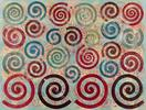Philip Taaffe <i>Spiral Painting I</i>, 2014 Mixed media on canvas 134 1/2 X 176 3/8 inches (341.6 X 448 cm)