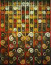 Philip Taaffe <i>Timothy's Gate Transfigured</i>, 1987 Mixed media on canvas 75 x 60 inches (190.5 x 152.5 cm)