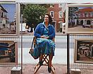 Joel Sternfeld <i>A Woman with Her Artwork, Portland, Maine, August 1992</i> from <i>Stranger Passing</i> Ektacolor print mounted on plexi Edition of 7 with 3 artist's proofs 36 X 45 1/2 inches (91.44 X 115.57 cm)