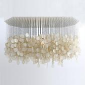 image French 1960 - Mother of pearl pendant lamp