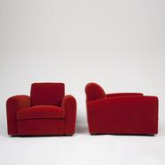 image Jean Royère - Pair of Red Armchairs / SOLD