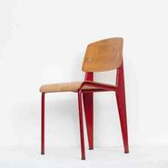 image Jean Prouvé - Wooden Chair with Red Legs / SOLD