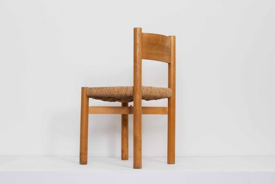 Charlotte Perriand - Set of 8 Wood and Rush Chairs & CHARLOTTE PERRIAND - MAGEN H GALLERY
