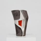 image Mado Jolain - Large Red, White and Grey Pitcher / SOLD