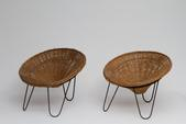 image In the Style of Joseph-André Motte - Pair of Rattan Armchairs