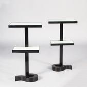 image Jean Royère - Pair of Rare Mahogany and Glass Side Tables / SOLD