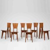 image Attributed to René Jean Caillette - Set of 6 Wooden Chairs