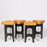 image Alain Douillard – Set of 4 Metal Stools / SOLD