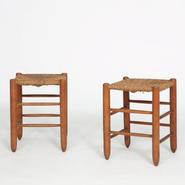 image Charlotte Perriand - Pair of rattan stools No 17