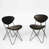 image Raoul Guys - Pair of leather and metal chairs