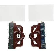 image Gianni Pinna - Pair of Ceramic and Wood Table Lamps