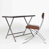 image Maison et Jardin - Metal and leather desk and chair / SOLD