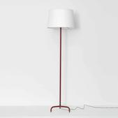 image Jacques Adnet - Red Leather Floor Lamp