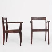 image Pierre Jeanneret - Pair of red demountable chairs
