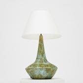 image Les Deux Potiers - Green Enameled Ceramic Lamp / SOLD