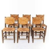 image Charlotte Perriand - Set of 6 Rush Chairs