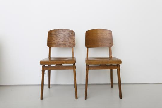Jean Prouvé   Pair Of All Wood Chairs