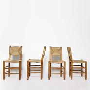 image Charlotte Perriand - Set of 4 Rush Chairs