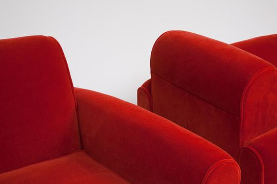 Detail Jean Royère   Pair Of Red Armchairs / SOLD