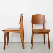 image Jean Prouvé - Pair of All Wood chairs