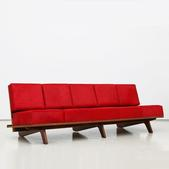 image In the style of Marcel Gascoin - Red sofa / SOLD