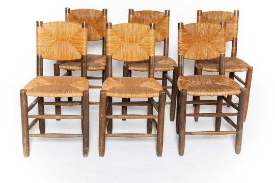 Nice Charlotte Perriand   Set Of 6 Rush Chairs