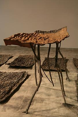 <b>Lo spazio della scultura (Pelle di cedro) [The space of  sculpture (Skin of Cedar)]</b>, 2001 Bronze and leather    Dimensions variable , raised section 145 x 85 x 170 cm, 24 plates each approximately 90 x 160 cm Inv.#12127 Image