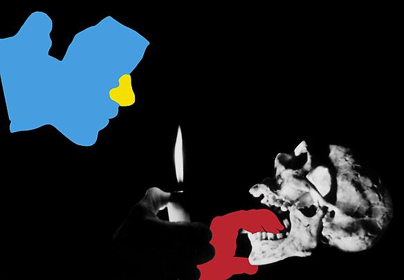 <b>Noses & Ears, Etc. (Part Two): (Blue) Face with (Yellow) Nose and (Red) Hand, Candle, and Skull</b>, 2006 Image