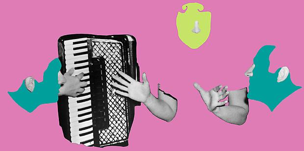 <b>Noses & Ears, Etc. (Part Two): Two (Bluegreen) Faces with Noses and Ears, One (Yellowgreen) Face with Nose and Three Hands and Accordion</b>, 2006 Image
