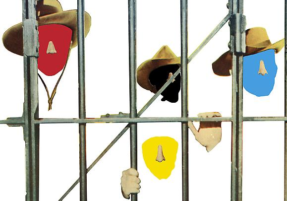 <b>Noses & Ears, Etc. (Part Two): Four (Red, Black, Blue, Yellow) Faces, Cowboy Hats, and Prison Bars</b>, 2006 Image