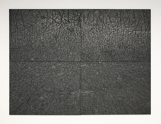 <b>Pelle di grafite (riflesso di rodonite) / The skin of graphite (reflection of rodonite)</b>, 2003-2006. Graphite on black paper 300 x 400 cm 4 elements each: 150 x 200 cm Inv.#12123 Image