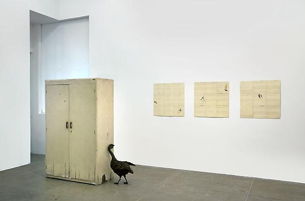 Petrit Halilaj, There I wait infinitely for the hurricane to come  (with Anser and anser), Several birds fly away when they understand it (Panel III, IV and V), 2013 Image